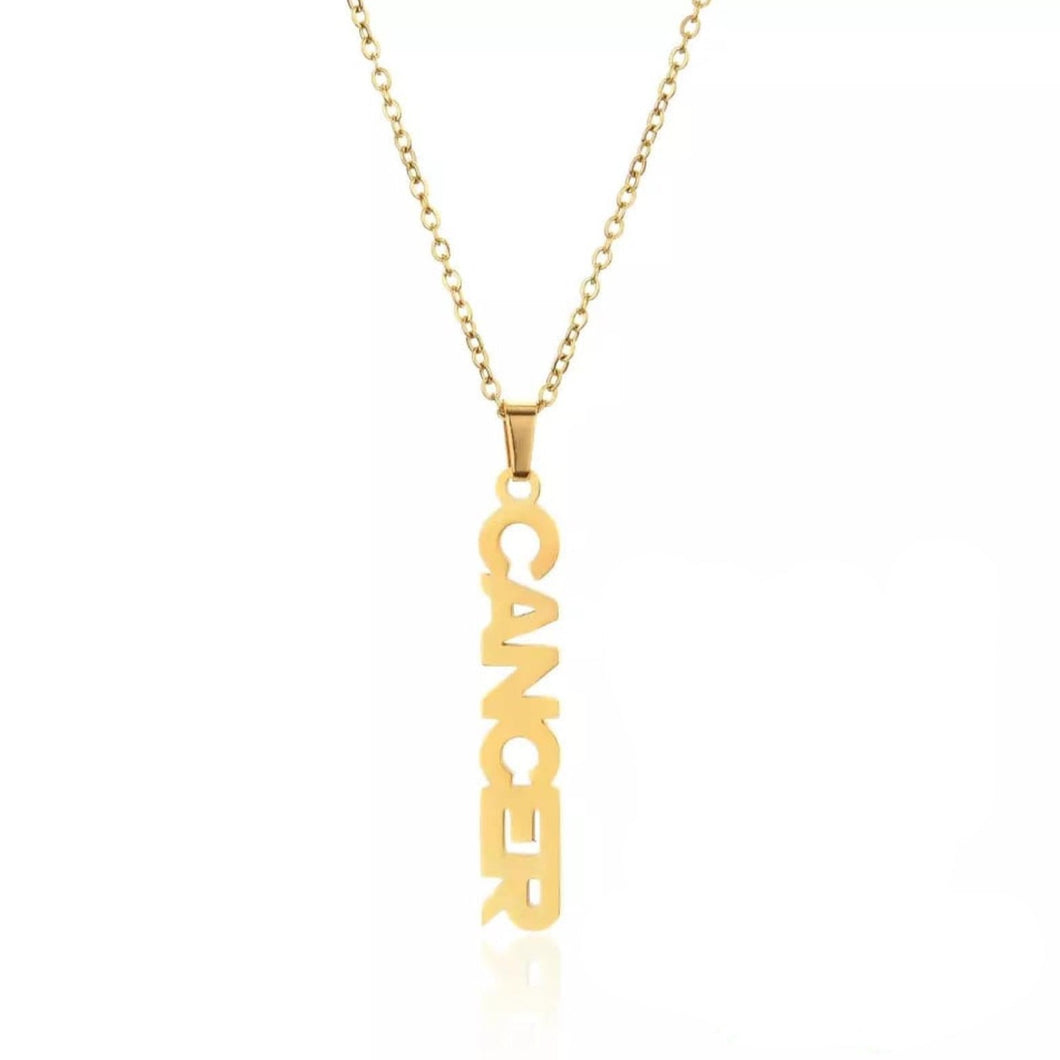 Gold Cancer Zodiac Necklace