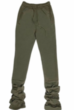 Load image into Gallery viewer, Cozy High Waisted Stacked Sweatpants - Army Green