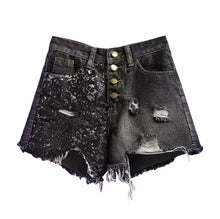 Load image into Gallery viewer, Black Diamond Sequin Shorts - Black