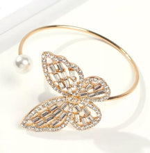 Load image into Gallery viewer, Rhinestone Butterfly Cuff Bracelet