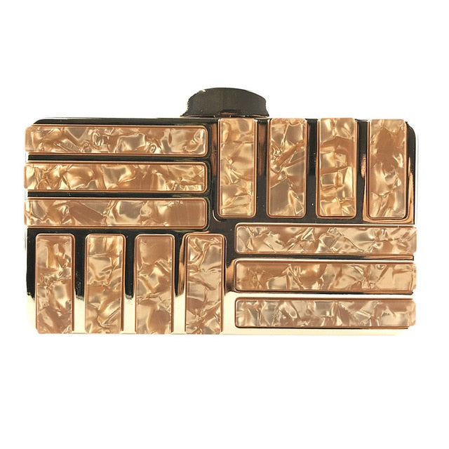 Marble Acrylic Gold Clutch Purse - Gold