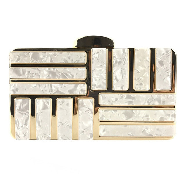 Marble Acrylic Gold Clutch Purse - White