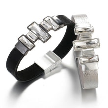 Load image into Gallery viewer, Trendy Bohemian Bling Crystal Leather Bracelet - Silver