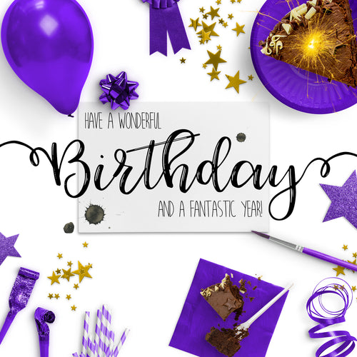 Party Time Purple Birthday Card