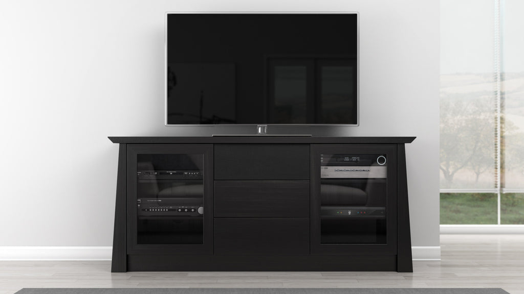 70 Ebony Cherry Wood Media Console Furnitech