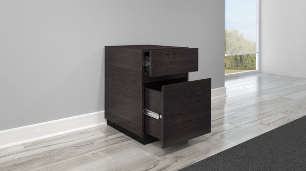 "16"" Graphite Italian Engineered Veneer Vertical File Cabinet FT16PDG"