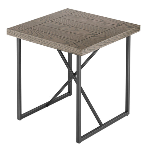X END TABLE- COASTAL GREY WITH GRAPHITE TUBULAR STEEL BASE