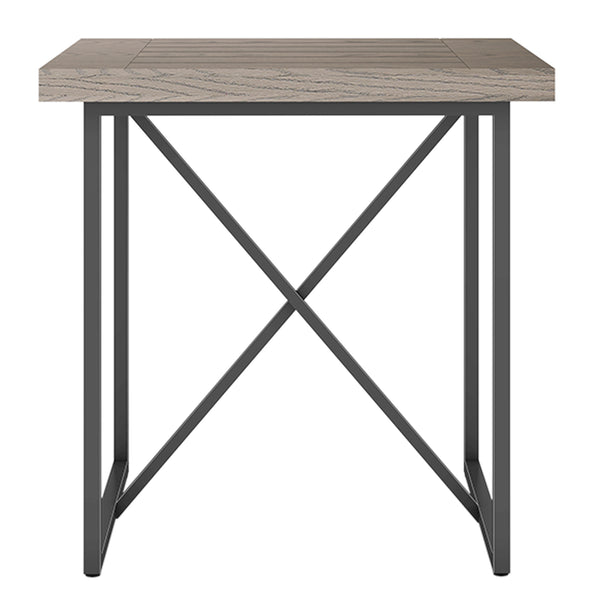 X END TABLE- COASTAL GRAY WITH GRAPHITE TUBULAR STEEL BASE