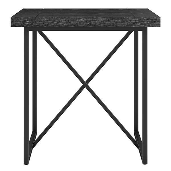 X END TABLE- BLACK OAK WITH GRAPHITE TUBULAR STEEL BASE