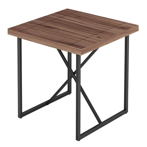 X END TABLE- WALNUT WITH GRAPHITE TUBULAR STEEL BASE