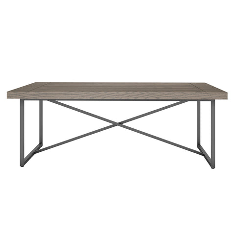 X COFFEE TABLE- COASTAL GRAY WITH GRAPHITE TUBULAR STEEL BASE