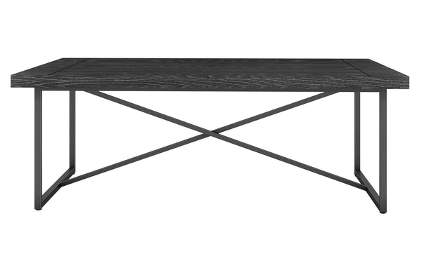X COFFEE TABLE- BLACK OAK WITH GRAPHITE TUBULAR STEEL BASE