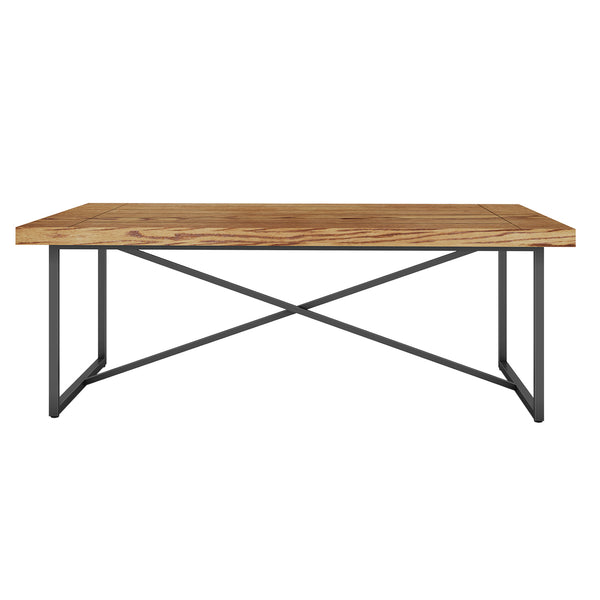 X COFFEE TABLE- HONEY OAK WITH GRAPHITE TUBULAR STEEL BASE