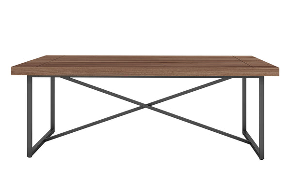 X COFFEE TABLE- WALNUT WITH GRAPHITE TUBULAR STEEL BASE