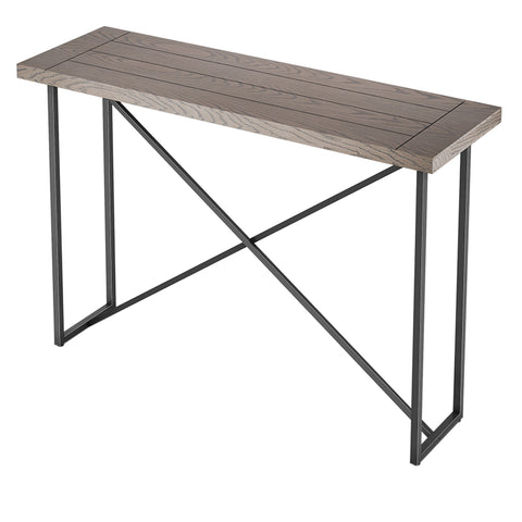 X CONSOLE TABLE- COASTAL GRAY WITH GRAPHITE TUBULAR STEEL BASE