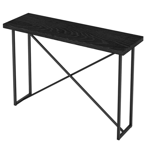 X CONSOLE TABLE- EBONY OAK WITH GRAPHITE TUBULAR STEEL BASE