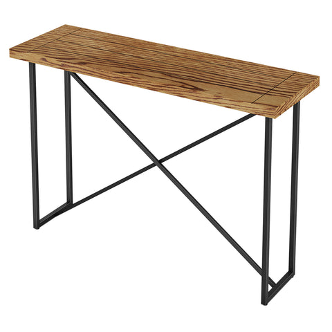 X CONSOLE TABLE- HONEY OAK WITH GRAPHITE TUBULAR STEEL BASE