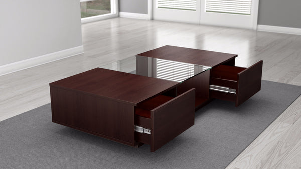 53 inch Contemporary Coffee Table in a Dark Brown Finish