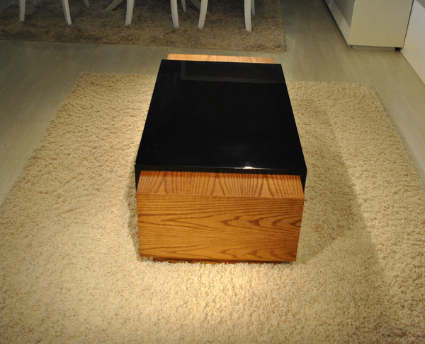 American White Oak Veneer Coffee Table with Black Lacquer Finish
