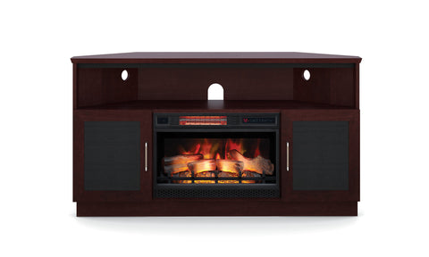 "60"" Corner Electric Fireplace TV Stand Dark Wenge FT60CCCFB"