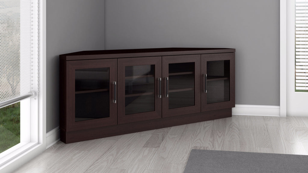 ... Corner TV Stand And Media Console In A Wenge Finish