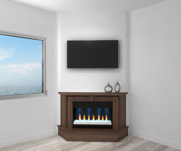 "67"" Transitional Mantel Electric Fireplace in Brazilian Cherry with a Cognac Finish FT67MMF"