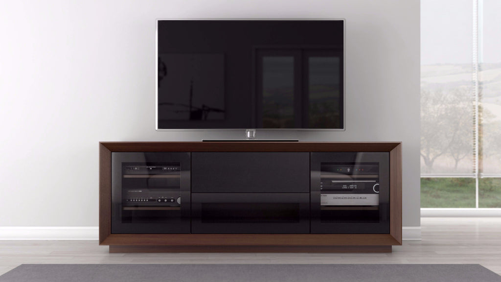 Tv Stand In Natural American Walnut Veneer Furnitech
