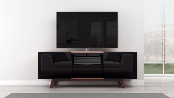 Modern TV Stand with Black Lacquer Sliding Doors