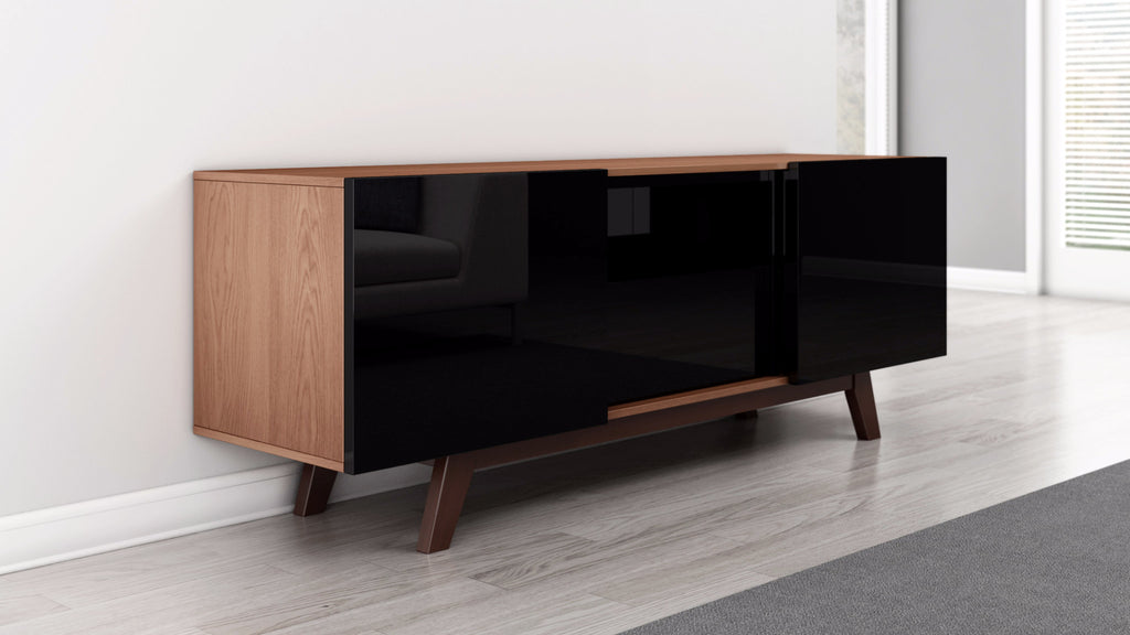 Modern Tv Stand With Black Lacquer Sliding Doors Furnitech