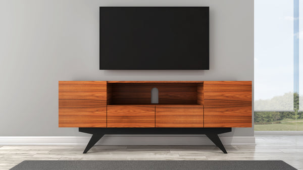 "78"" Stunning Mid-Century Modern Iron Wood Media Console FT78PF"