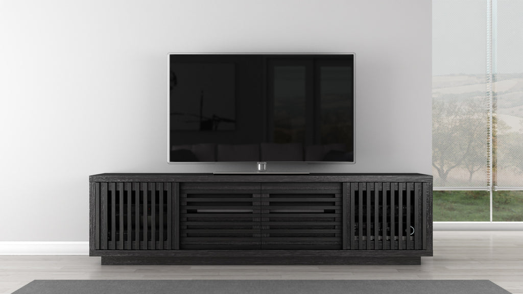Tv Stand Of White Oak In An Ebony Finish Furnitech