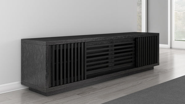 82 inch TV Stand of White Oak in an Ebony Finish