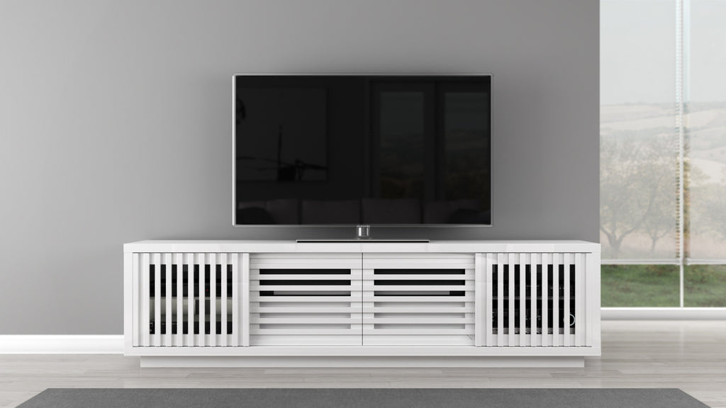 Tv Stand In High Gloss White Lacquer Furnitech