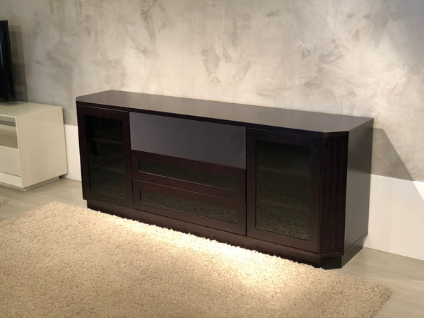 "78"" Transitional TV Console in a Dark Brown Wenge Finish FT78CL"