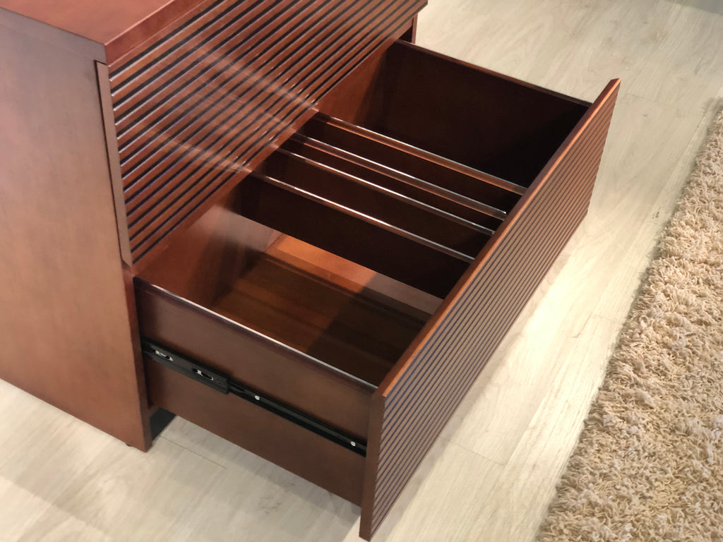 36 Mid Century Modern 2 Drawer Lateral File In A Cognac Finish Furnitech