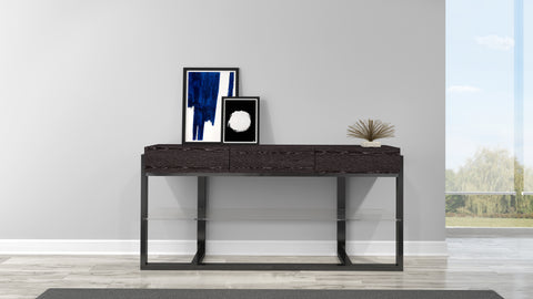 "64"" Graphite Grey Art Deco Console Table FT64ST"