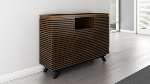 Modern Media Storage Dresser Rich Cognac Finish