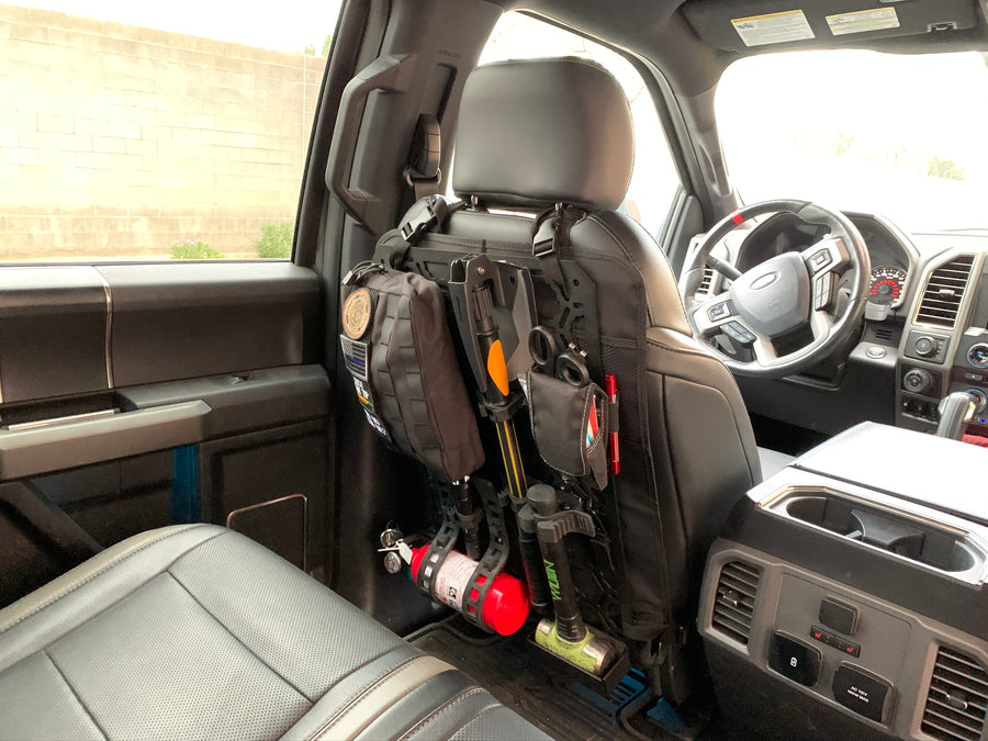 Off-Road Seat Back Panel Kit with Shovel - Hammer - Fire Extinguisher