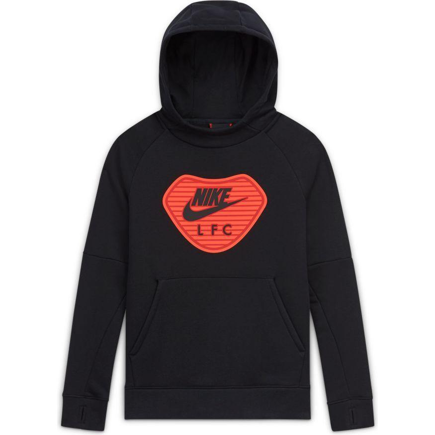 LFC Nike Big Kids' Fleece Black Pullover Soccer Hoodie - Anfield Shop