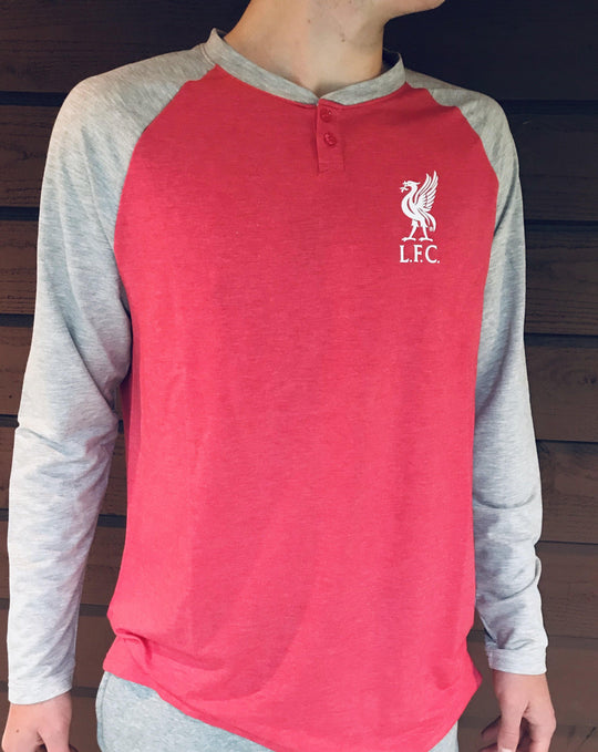 LFC Mens Long-Sleeve French Terry Raglan Loungewear Shirt - Anfield Shop