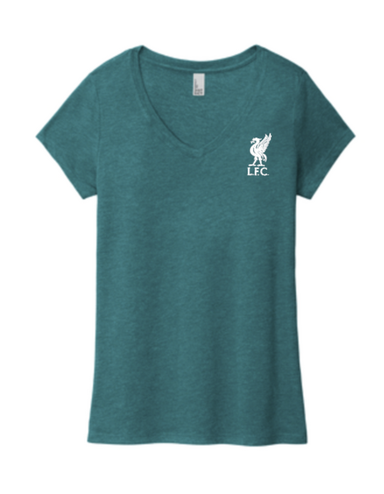 LFC Teal Script Ladies V-Neck Tee - Anfield Shop