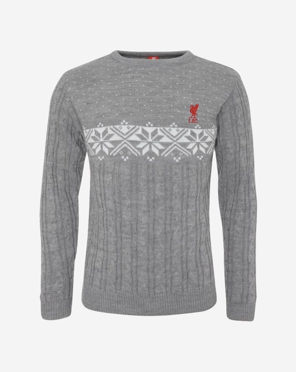 Liverpool FC Adults Grey Cable Knit Crest Sweater