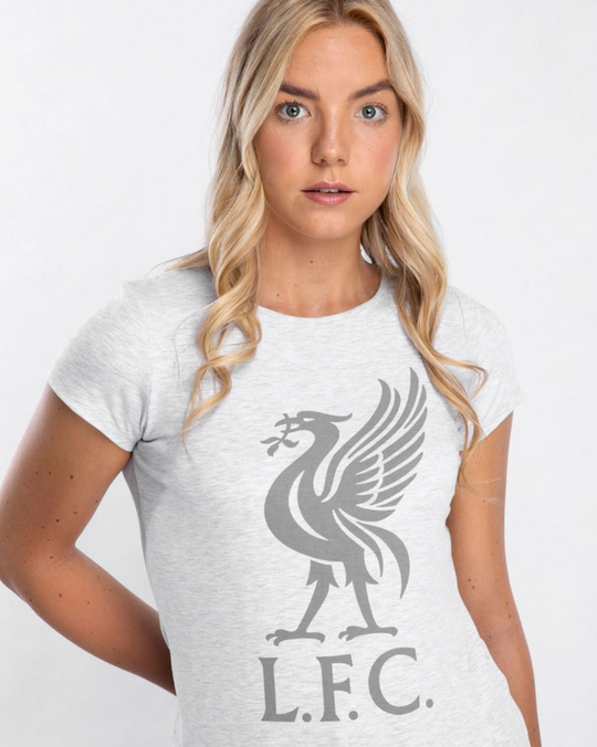 Liverpool FC Womens Ice Marl Liverbird Tee - Anfield Shop