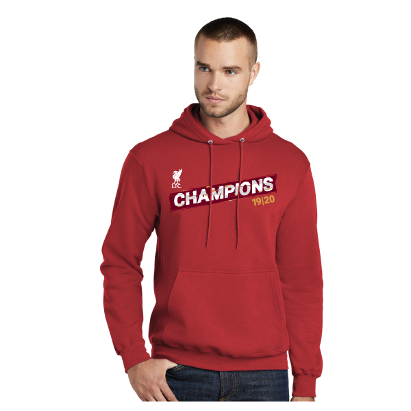 Liverpool FC Premier League Champions 19-20 Unisex Red Pullover Hooded Sweatshirt