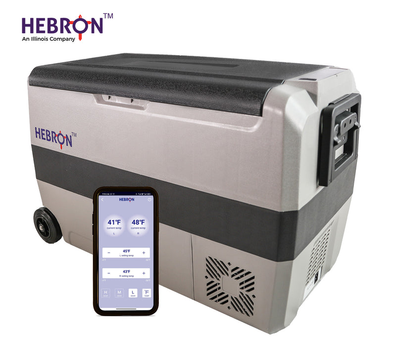Hebron 47 Quart Dual Zone Portable Refrigerator/Freezer - 12 Volt DC/120V AC for Vans, Campers, RVs and Boats