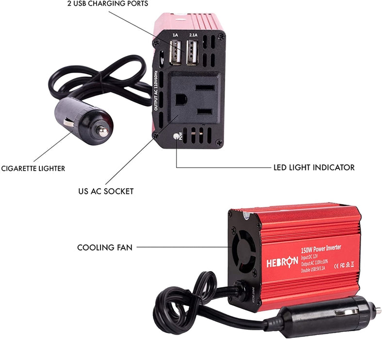 Hebron 150W Car Power Inverter - Portable 12V DC to 110V AC Charger