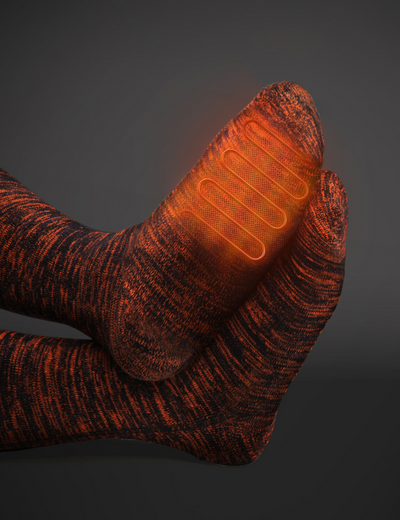 heating location of heated socks, orange