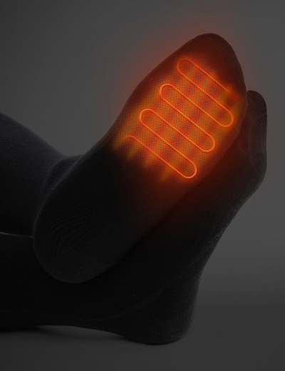 heating location of heated socks, black