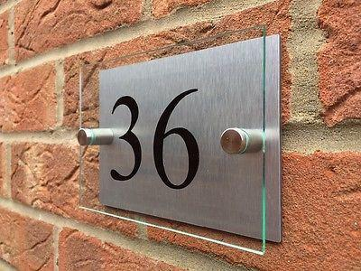 Glass Acrylic / Aluminium Door Number Plaque