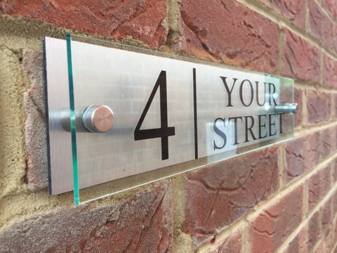 Glass Acrylic / Aluminium Address Plaque